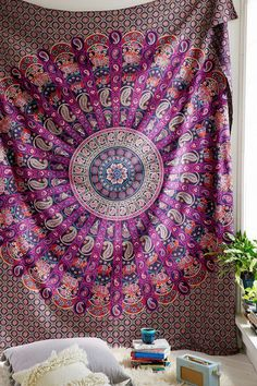 Bedspreads – Maroon star Tapestry Wall Hanging 84x54 Inch – a unique product by LindasJewelryStuff on DaWanda