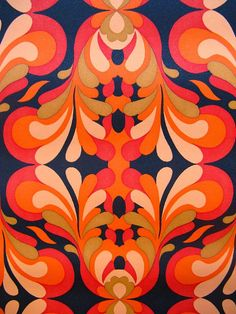 vintage wallpaper  red orange fire spurts on black  by thriftypyg