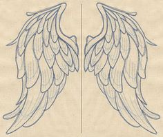 Embroidery Designs at Urban Threads - Wings from Above Embroidery Stitches, Embroidery Patterns, Hand Embroidery, Machine Embroidery, Angel Wings Drawing, Wood Angel Wings, Vintage Illustration, Urban Threads, Wood Burning Patterns