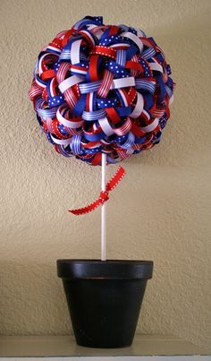 Patriotic Ribbon Topiary (could do with Christmas ribbons, too)