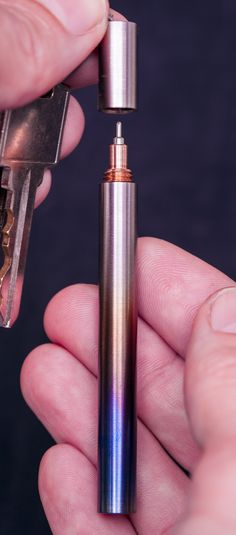 Made from titanium and red bronze, these pens are so well machined that the seam between the cap and barrel is invisible. They are offered in two sizes, and in Keychain or Pocket versions, as well as a range of beautiful engraving options. You will never be without a pen again!