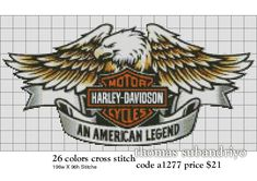 Free Pictures and Cross Stitch Patterns Thomas Gallery: Harley Davidson logo a1277