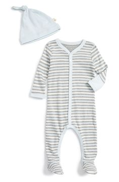 Organic Cotton Footie & Hat Set (Baby Boys)