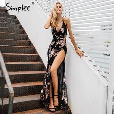 $51.9 - Nice Simplee Sexy lace up halter sequin party dresses women Backless high split maxi dress women Christmas 2017  long dress vestidos - Buy it Now!
