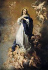Inmaculada Concepción de los Venerables o de Soult: MURILLO, 1678. Museo del Prado. Debe su nombre a que fue robada por el mariscal Soult durante la Guerra de la Independencia. Fue encargada por el canónigo de la catedral de Sevilla, para una iglesia sevillana. María viste túnica blanca, símbolo de pureza, y manto azul, símbolo de eternidad, lleva sus manos al pecho y eleva la mirada al cielo. El estatismo de la virgen contrasta con el movimiento de los querubines que le sirven de peana.