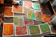 lulumoonArt: Too much fun! -- Today: Monoprinting with Gelli plate!  Slab on some paint, add textures or stenciling, press paper on top and voila!  Add more layers - yeehaw!
