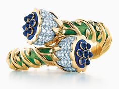 ee7cb2403468 Tiffany artisans created this bracelet from Jean Schlumberger s sketch  found in the Tiffany Archives. Schlumberger s Lotus jewel is crafted from  pailloné ...