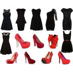 Black dress, red heels