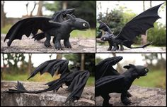 Toothless the Night Fury - Art doll by Piquipauparro on DeviantArt  A very very talented crafter that needs more exposure!  =D Please repin and share with your friends!