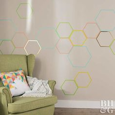Take a boring beige wall from drab to fab with this easy washi tape design. Simply peel it off and try a new color or pattern when you're ready for a new look.