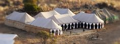 The famous Hayward's gin tent in all her glory - perfect for dining up to 150 guests  / 8 course safari cuisine!