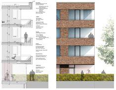1. Preis: Fassadenschnitt und Detailansicht Mehrfamilienhaus, © RENNER HAINKE WIRTH ZIRN ARCHITEKTEN