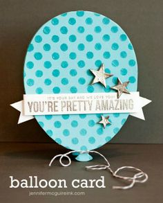 Video showing balloon shaped birthday card