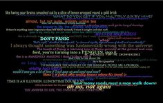 HHGG quotes black Hitchhikers Guide to the Galaxy Quotes--- there's a frood who really knows where his towel is. The Hitchhiker, Hitchhikers Guide, Galaxy Quotes, Answer To Life, Friendly Letter, Douglas Adams, Guide To The Galaxy, Rough Day, Some Quotes