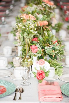 Colorful Garden Themed Bridal Shower with gorgeous pink tablescape