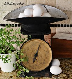 vintage scale vignette for the kitchen, useful for eggs...           Tidbits & Twine: