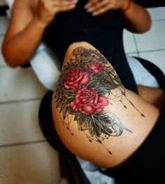 And a beautiful cluster of roses, dripping with ornate detail. Just 28 Simple And Beautiful Rose Tattoo Ideas That Are Too Pretty For Words Dope Tattoos, Pretty Tattoos, Unique Tattoos, Body Art Tattoos, Sleeve Tattoos, Beautiful Tattoos, Tattoos Of Roses, Lace Flower Tattoos, Rose Tattoos For Women