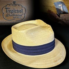 Vintage 7 1950s Tropicool Straw Fedora Men s Hat  fashion  clothing  shoes   accessories 8394307e7ea3