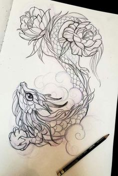 Dragon Tattoo Dragon TattooYou can find Tattoo drawings and more on our website. Pencil Art Drawings, Art Drawings Sketches, Tattoo Sketches, Animal Drawings, Cute Drawings, Cute Tattoos, Body Art Tattoos, Tattoos Skull, Tattoo Art