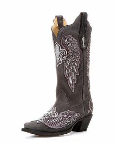 Women's Black/Purple-Silver Wing and Fleur de lis Sequin Boot - R1187