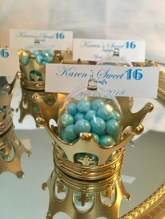 Triumphant rehabilitated quinceanera party themes Our gift Cinderella Party Favors, Prince Party Favors, King Birthday, 15th Birthday, Birthday Crowns, Birthday Ideas, Birthday Parties, Crown Centerpiece, Quince Centerpieces