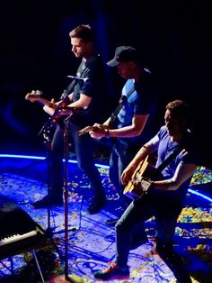 Chris Martin Jonny Buckland and Guy Berryman Stage Coldplay Rogers Place Edmonton September 27 2017