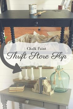 Learn how to flip a thrift store find with child paint.  A step-by-step DIY for chalk painting and distressing a table.  Along with decorating it with farmhouse decor.