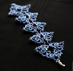 """Купить Браслет """"Милори"""" - синий, кружево, кружево ручной работы, кружевное украшение, браслет"""