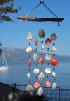 Driftwood Seashell Wind Chimes Handmade One-of-a-Kind Wind Seashell Painting, Seashell Art, Seashell Crafts, Beach Crafts, Diy And Crafts, Seashell Wind Chimes, Diy Wind Chimes, Carillons Diy, Driftwood Crafts