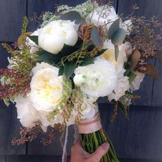 #bouquet for today's #hawaiibride Seeded eucalyptus, ranunculus, garden roses, Queen Anne's lace, Pieris japonica, gold succulents and of course... Peonies!!! www.blissinbloom.com --- #Bouquet #Wedding #Hawaii #Bride #Florals #HawaiiWedding #BlissInBloom