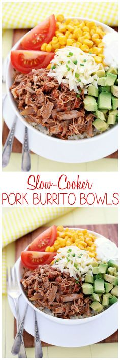Easy, delicious comfort food done Tex-Mex style with juicy, seasoned pork and rice with all your favorite toppings. #food #slowcooker #burritos #crockpot #recipes #cooking #burritobowls #pork