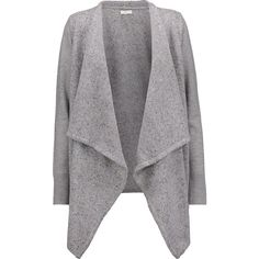 Joie - Starley Marled Knitted Cardigan (10,155 INR) ❤ liked on Polyvore featuring tops, cardigans, grey, gray top, drape front top, relaxed fit tops, grey cardigan and asymmetrical hem top