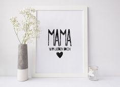 Poster für Mama, Kunstdruck zum Muttertag, Wanddekoration / cute art print with quote for mother's day, home decor made by goodgirrrl via DaWanda.com