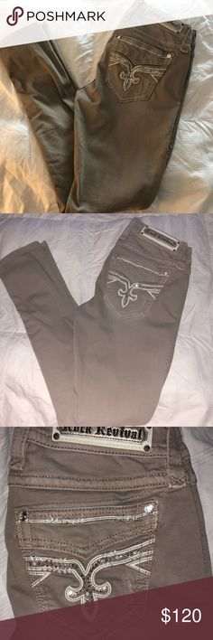 Size 29 rock revival studded pants Worn only once perfect condition khaki studded rock revival skinny ankle pants size 29 Rock Revival Pants Ankle & Cropped
