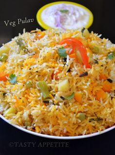Healthy one pot meal ~ Vegetable Pulav  http://tastyappetite.blogspot.in/2012/05/vegetable-pulav-veg-pulao-step-by-step.html