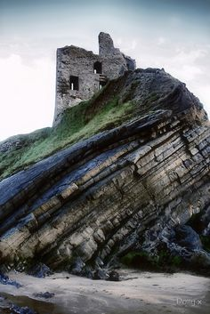 "Ballybunion Castle, Ireland ""How would you like to live on a swirl of an outcropping near the sea..."""