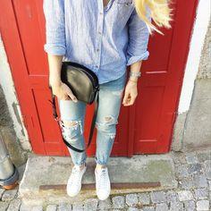 tifmys - H&M shirt, Zara denim, A.P.C. Half-moon bag & Adidas Stan Smith sneakers.