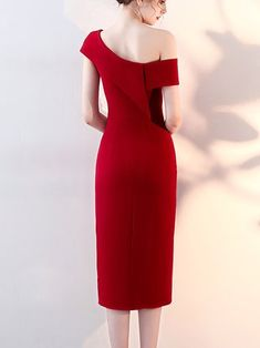 Red Elegant One Shoulder Sheath Midi Dress