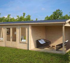 holz-gartenhaus mit vordach ian c 18m² / 50mm / 4x5 | haus und, Moderne