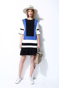 #AdoreWe Few Moda, Minimalistic Fashion Brands Online - Designer Few Moda Color Block Light Ruffle Dress DR0909 - AdoreWe.com