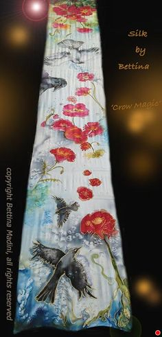 "Crow Magic - handpainted original Silk Stole- original painting on silk by Bettina Star-Rose silk paint ~ 89"" x 13.5 """