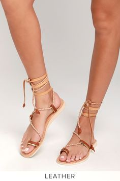f3a930399 Cocobelle Sahara - Brown Leather Sandals - Lace-Up Sandals Brown Leather  Sandals