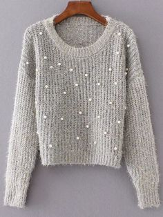 Pale Grey Round Neck Long Sleeve Beaded Sweater