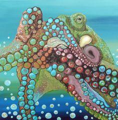 Octopus Marine Fish Art Original 12 x 12 Canvas Painting-Carla Smale-BobbysBears…