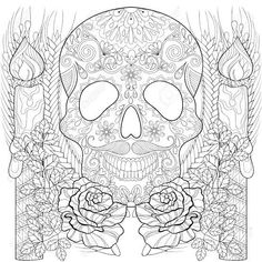 skull and candles for halloween coloring pages printable and coloring book to print for free. Find more coloring pages online for kids and adults of skull and candles for halloween coloring pages to print. Skull Coloring Pages, Coloring Pages To Print, Colouring Pages, Coloring Books, Doodle Art Letters, Doodle Art Journals, Halloween Coloring Pages Printable, Sharpie Designs, Ornamental Vector