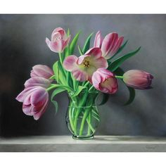 Elegant and graceful. Known for his still life oil paintings, Belgium artist Pieter Wagemans finds inspiration through flowers and nature in this engaging floral wall sticker decal, Tulips from Holland. This gorgeous floral inspired fine art decal shows a clear, glass vase brimming over with luscious green leaves and light pink tulips highlighted with dark pink accents centered atop a stone table against a grey background. Perfect for any nature lover or avid gardener, this floral fine art…