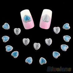 10pcs 3D Alloy Rhinestone Heart Nail Art Stickers Glitters Studs DIY Decoration #KansasDealUS #NailStudsNailTips