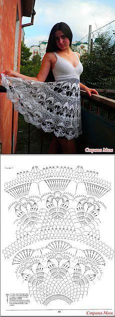 Fabulous Crochet a Little Black Crochet Dress Ideas. Georgeous Crochet a Little Black Crochet Dress Ideas. Crochet Motifs, Crochet Chart, Thread Crochet, Crochet Lace, Crochet Stitches, Crochet Skirts, Crochet Blouse, Crochet Clothes, Knitting Patterns