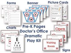 dramatic play doctors office. 35 pages for only $2!!! There's also a Vet Clinic package (also $2)