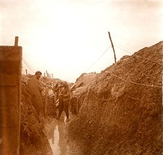 WW1, Western Front, French flooded trench.